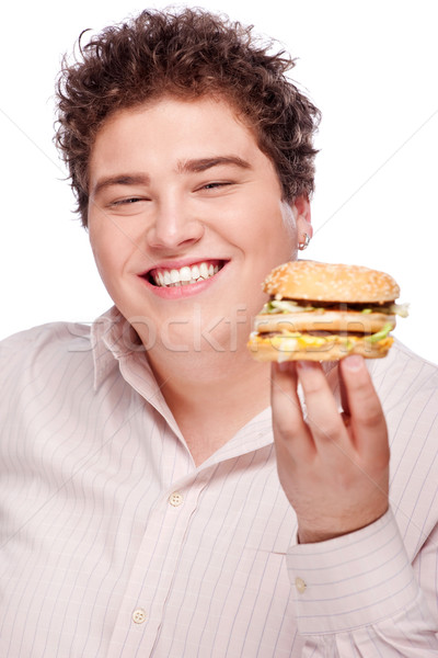 Smiled chubby and hamburger Stock photo © imarin