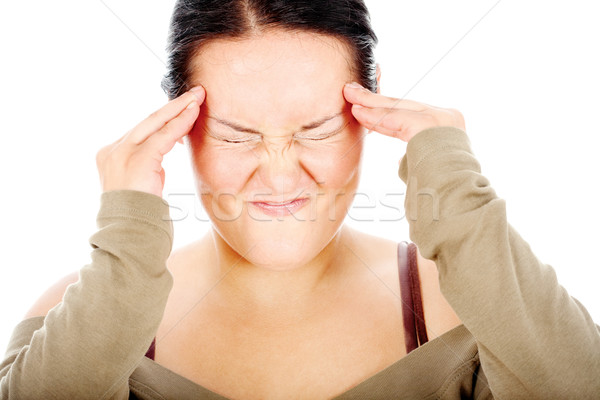 chubby woman have headache Stock photo © imarin
