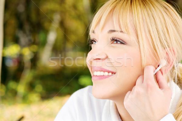 Nő park fülhallgató szőke zene boldog Stock fotó © imarin