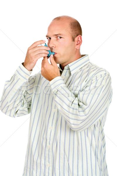 Man astma geneeskunde beide handen Stockfoto © imarin