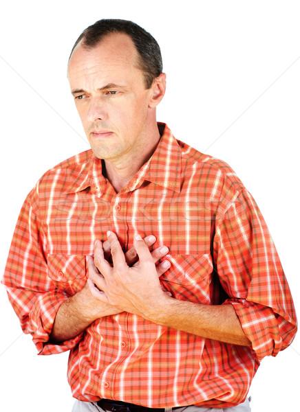 Ataque cardíaco homem isolado branco coração saúde Foto stock © imarin