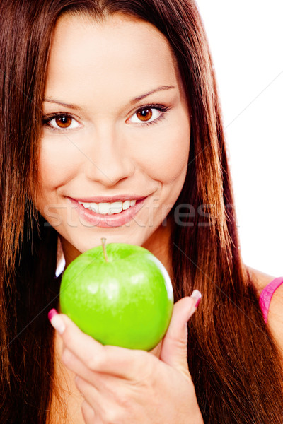 Happy woman with green apple Stock photo © imarin