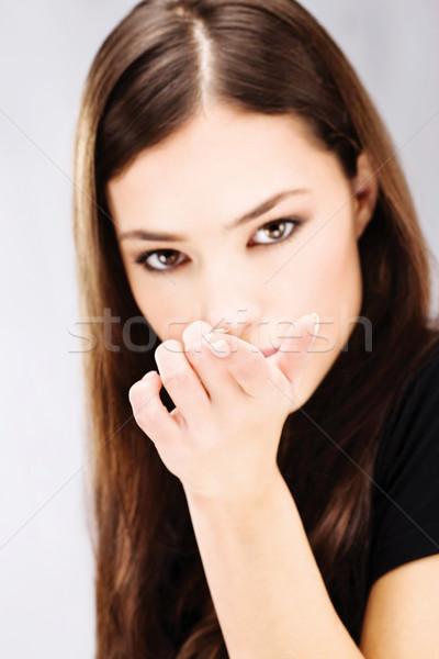 женщину контактная линза пальца лице Сток-фото © imarin