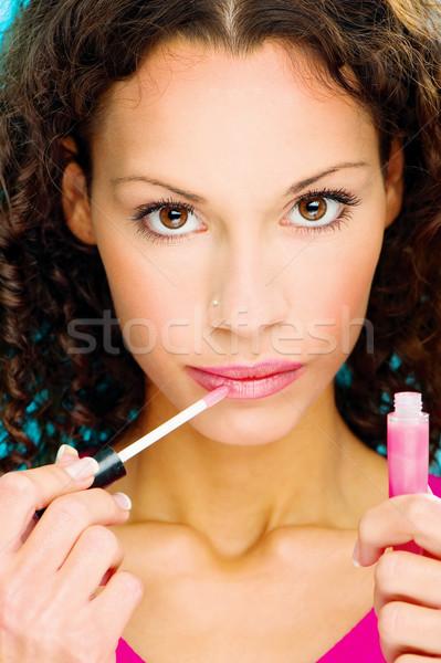 lipstick on her lips Stock photo © imarin