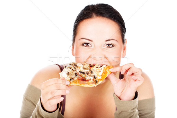 chubby girl and slice of pizza Stock photo © imarin