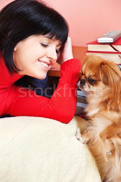 Kız ev köpek kadın gülümseme oda Stok fotoğraf © imarin