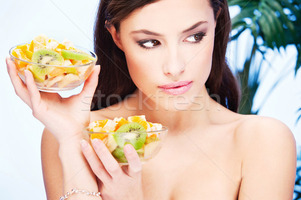 Meisje twee kom vol vruchten mooie Stockfoto © imarin