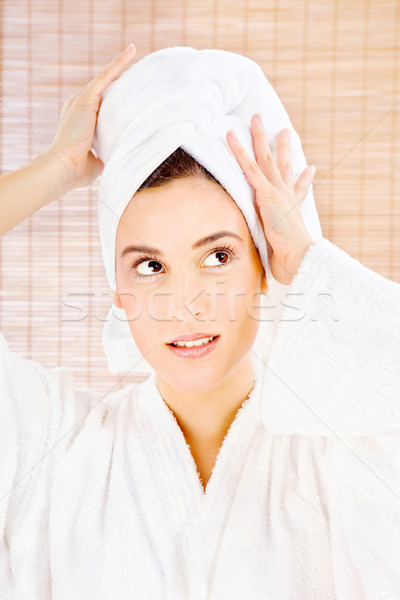 brunette woman with towel Stock photo © imarin