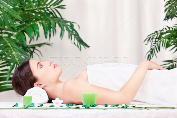 woman waiting for massage in salon Stock photo © imarin