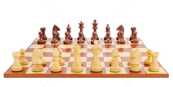 Tablero de ajedrez establecer hasta juego aislado blanco Foto stock © imarin