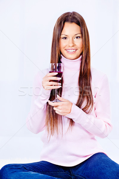 woman holding glass of wine Stock photo © imarin