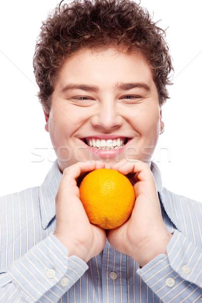 Rechoncho nino naranja feliz hombre aislado Foto stock © imarin