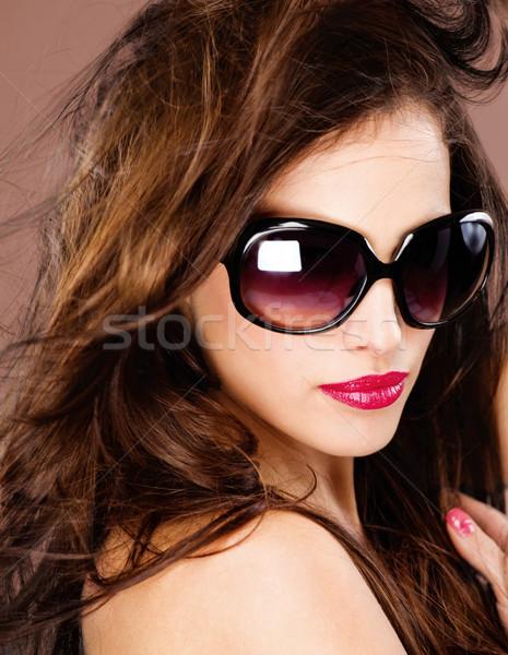 Nő nagy fekete nap szemüveg csinos nő Stock fotó © imarin