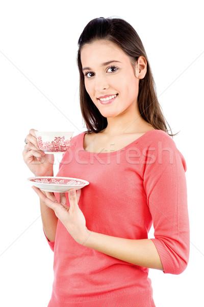 Lány tart teáskanna fiatal barna hajú izolált Stock fotó © imarin