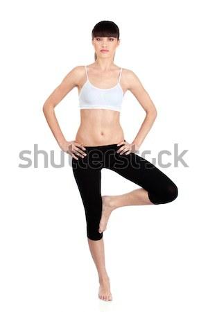 Сток-фото: женщину · фитнес · изолированный · белый · работу