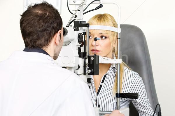 Optometrikus női beteg orvosi munka egészség Stock fotó © imarin