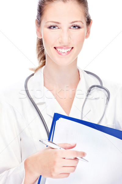 female doctor with papers and stethoscope Stock photo © imarin