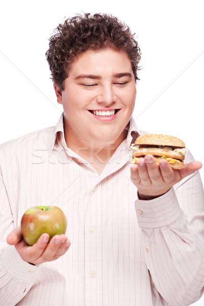 Stockfoto: Mollig · man · appel · hamburger · jonge