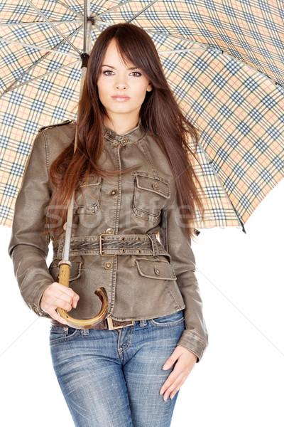 Pretty woman under umbrella Stock photo © imarin