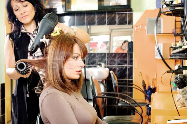 dries hair in a hair salon Stock photo © imarin