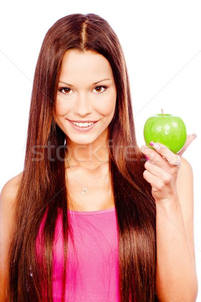 Gelukkig vrouw groene appel geïsoleerd witte Stockfoto © imarin