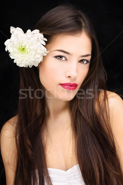 Lány virág haj csinos hosszú haj Stock fotó © imarin