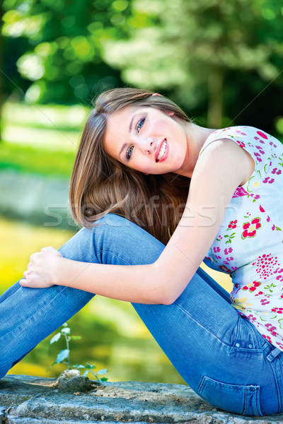 woman on sunny day in park Stock photo © imarin