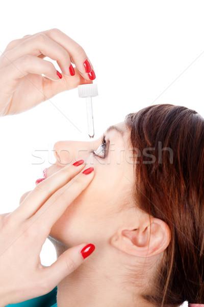 Cseppek szem nő izolált fehér orvosi Stock fotó © imarin