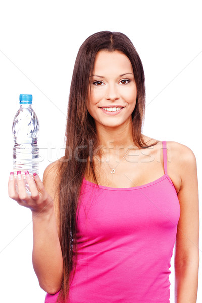 Woman holding bottle of water Stock photo © imarin