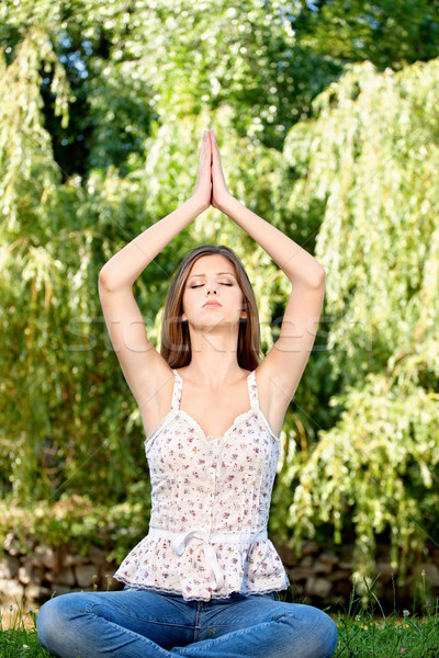 woman at meditation outdoor Stock photo © imarin
