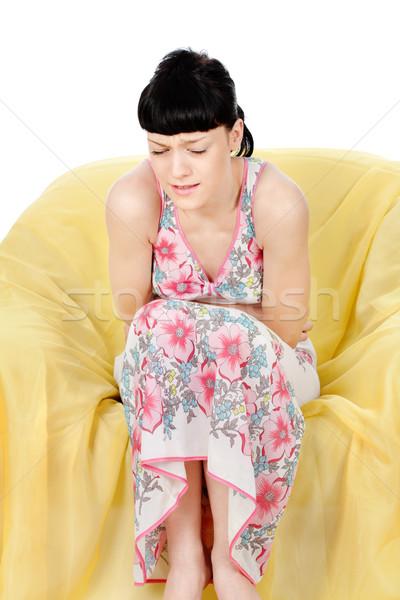 Schmerzen Abdomen junge Mädchen Grimasse Frau Stock foto © imarin