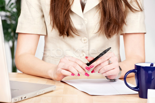 pen in a hands of a business woman Stock photo © imarin