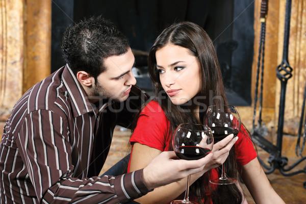 couple in love near fireplace Stock photo © imarin