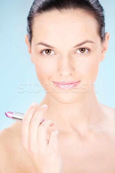 woman holding lipstick Stock photo © imarin