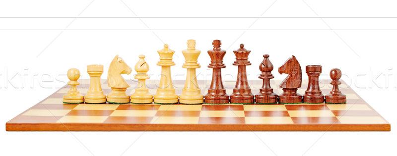 Satranç tahtası yalıtılmış beyaz kavga oynamak tahta Stok fotoğraf © imarin