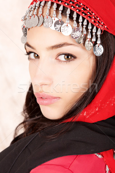 pretty young woman cover with red scarf Stock photo © imarin