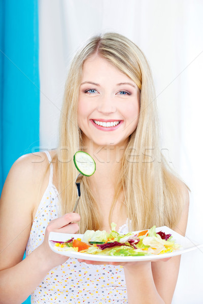 Stock photo: salad on fork and plate