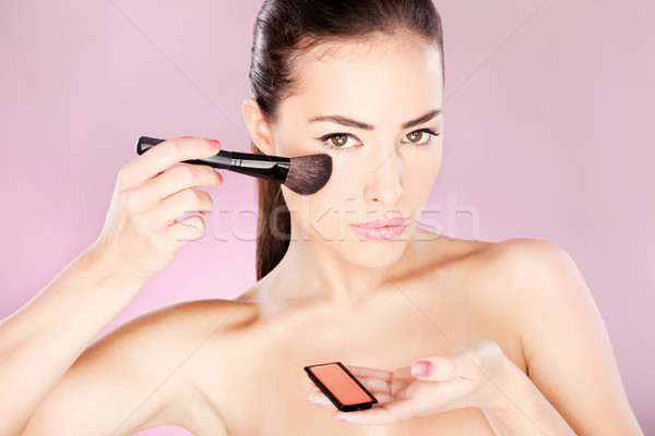 Foto stock: Mulher · pó · escove · mulher · bonita