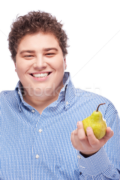chubby man holding pear Stock photo © imarin