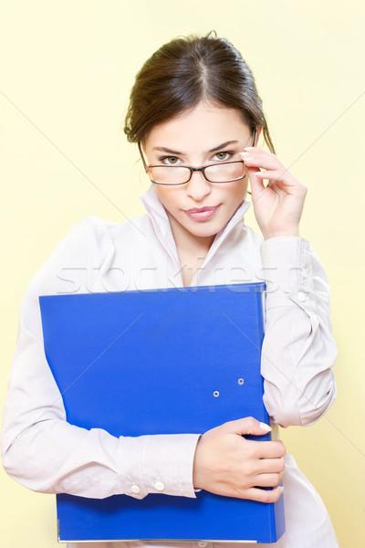 Iş kadını dosya portre gözlük yüz cam Stok fotoğraf © imarin