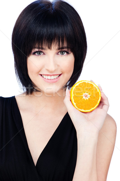 Foto stock: Mujer · frutas · mujer · bonita · rebanada · naranja