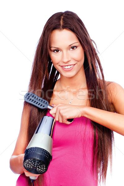 Mulher soprar pente cabelos longos menina Foto stock © imarin