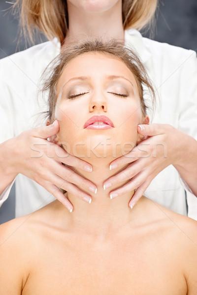Nő fej masszázs csinos nő kezelés arc Stock fotó © imarin