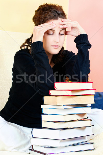 student and bunch of books Stock photo © imarin