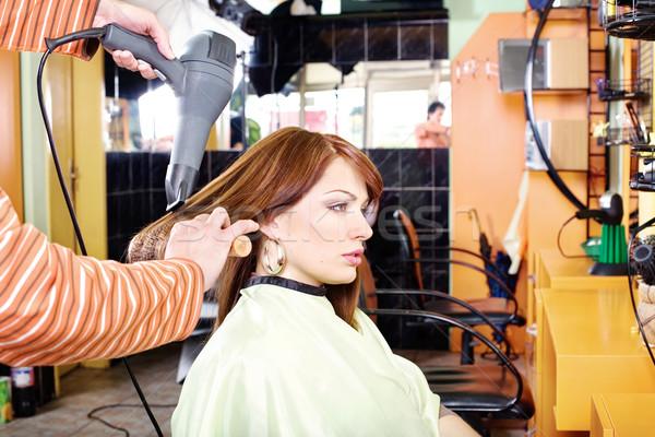 Stockfoto: Handen · professionele · kapper · mooie · brunette · haren