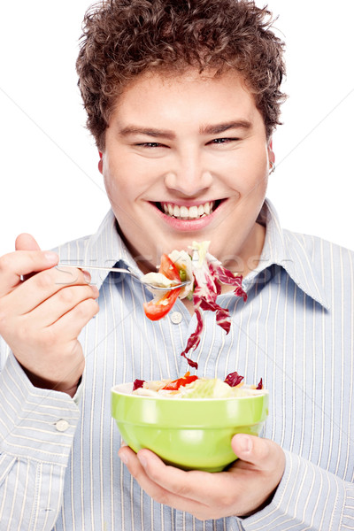 chubby man and salad Stock photo © imarin