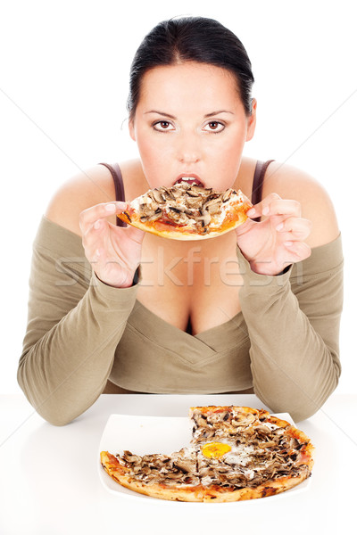 Chubby femme pizza jouir de manger tranche Photo stock © imarin