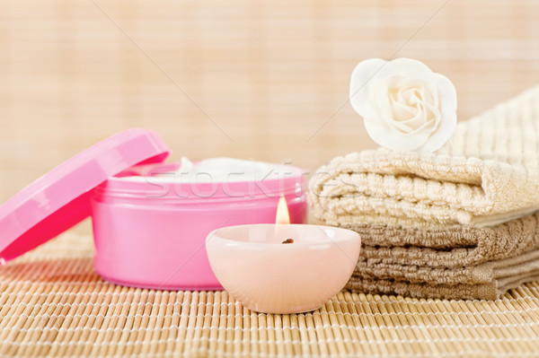 Skin care set with romantic candle Stock photo © imarin