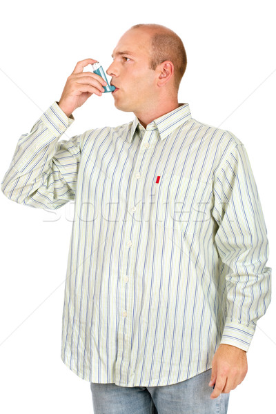 Man having problem with his respiratory system Stock photo © imarin