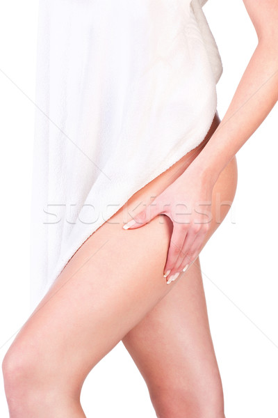 pinching leg for skin fold test Stock photo © imarin